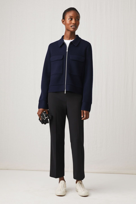 Model Side Image Of Arket Merino Box Jacket In Blue Knitwear Women Knit Structure Arket