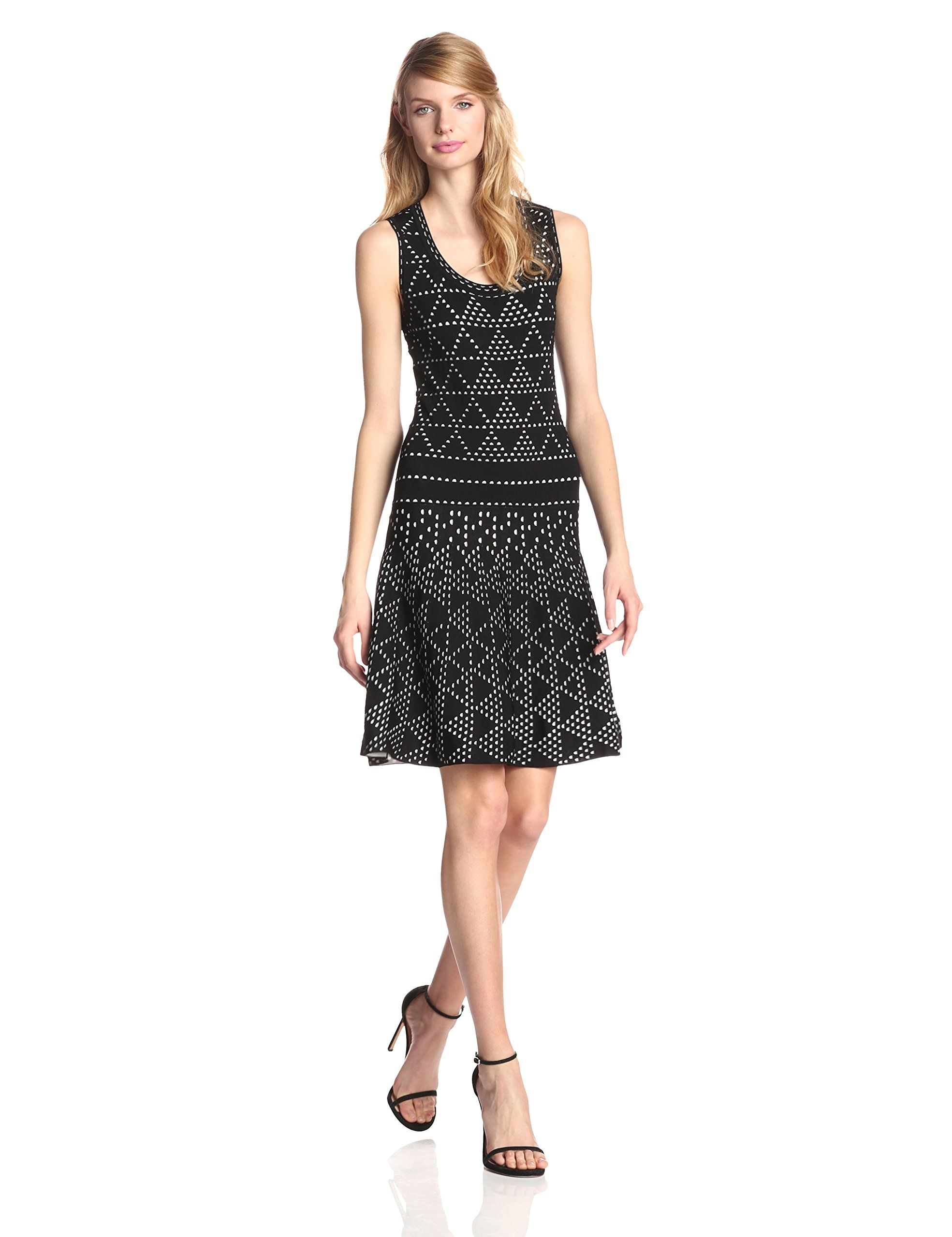 Nanette lepore womenus diamond dazzle knit fit and flare dress