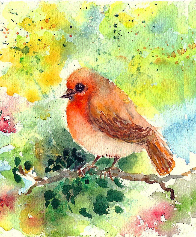 Small Original Robin Watercolor Bird Painting Tiny Bird Wall Decor