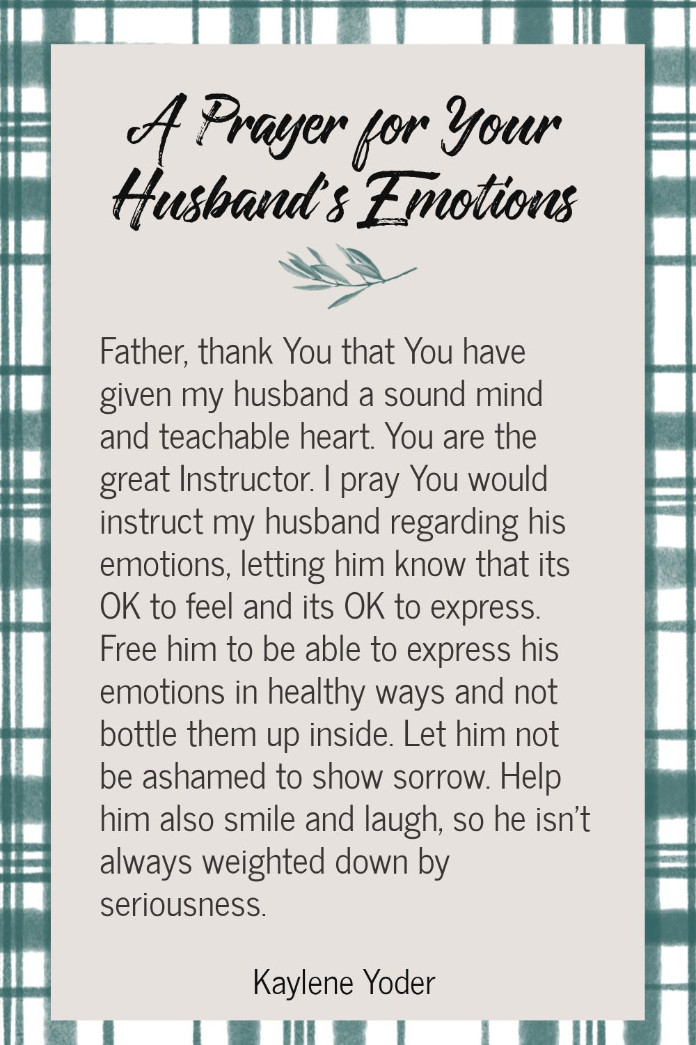 A Prayer for Your Husband's Emotions