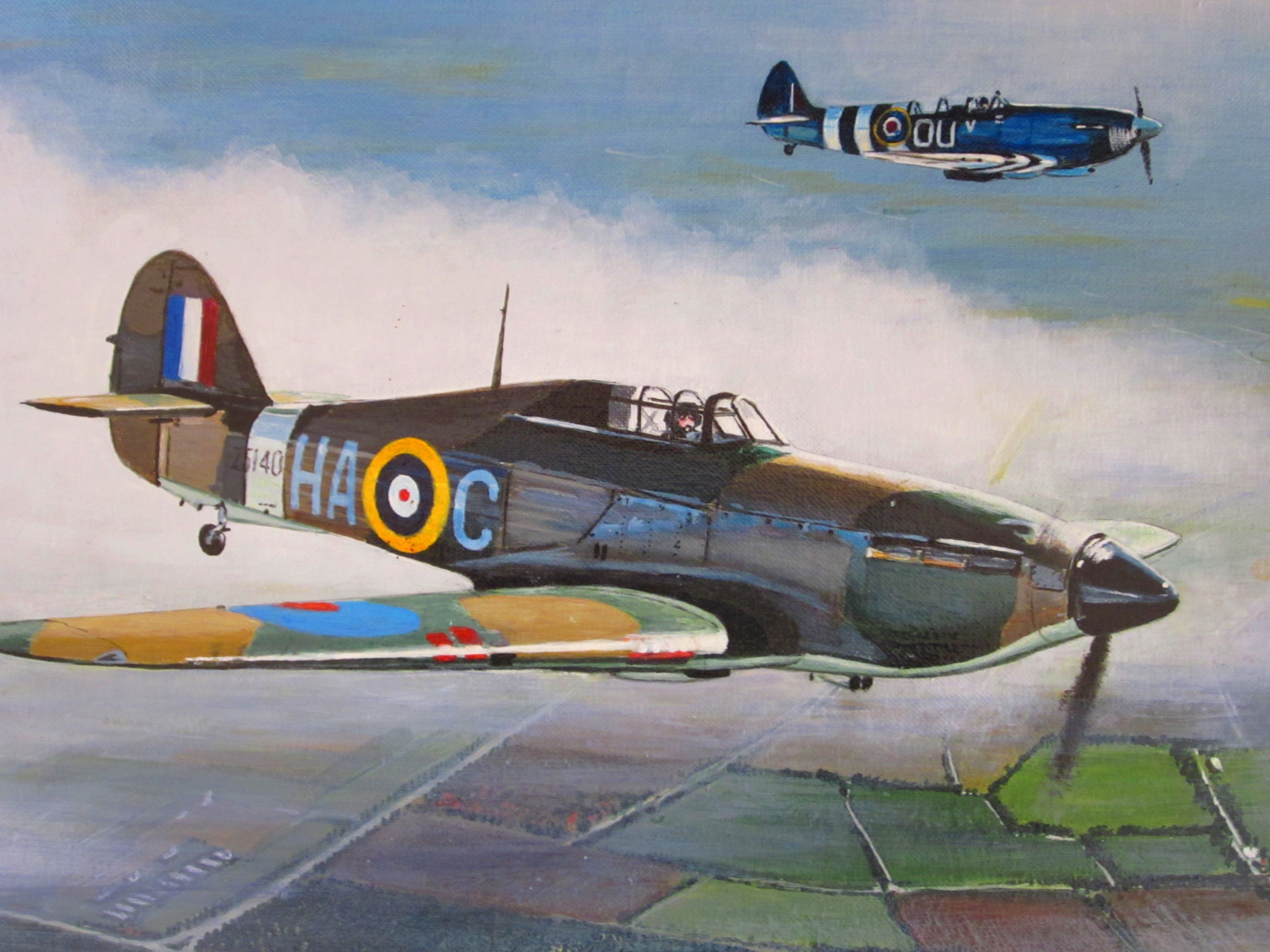 Hawker Hurricane Ha C In Formation With The Grace Spitfire By Iain Mclellan Wwii Plane Art Aircraft Art Nose Art