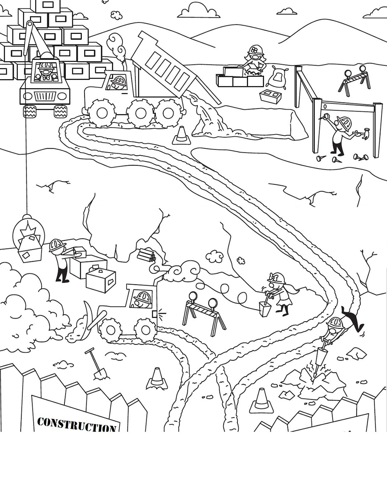 Race Track Coloring Page Scene Sketch Coloring Page