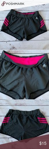 Adidas Climalite Running Shorts Gray w/Pink Stripe Adidas Climalite Moisture Wic#design #model #dress #shoes #heels #styles #outfit #purse #jewelry #shopping #glam #love #amazing #style #swag