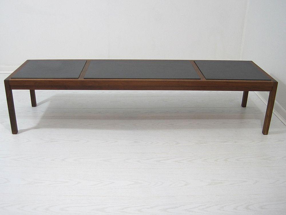 Midcentury slate tile top coffee table bench coffee