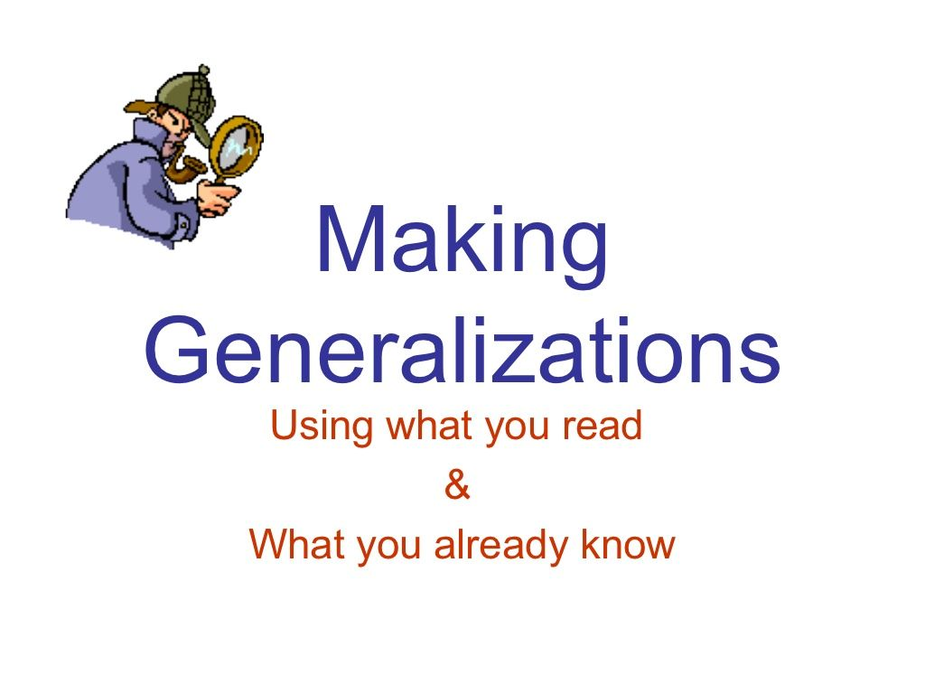 Making Generalizations By Azwoyer Via Slideshare