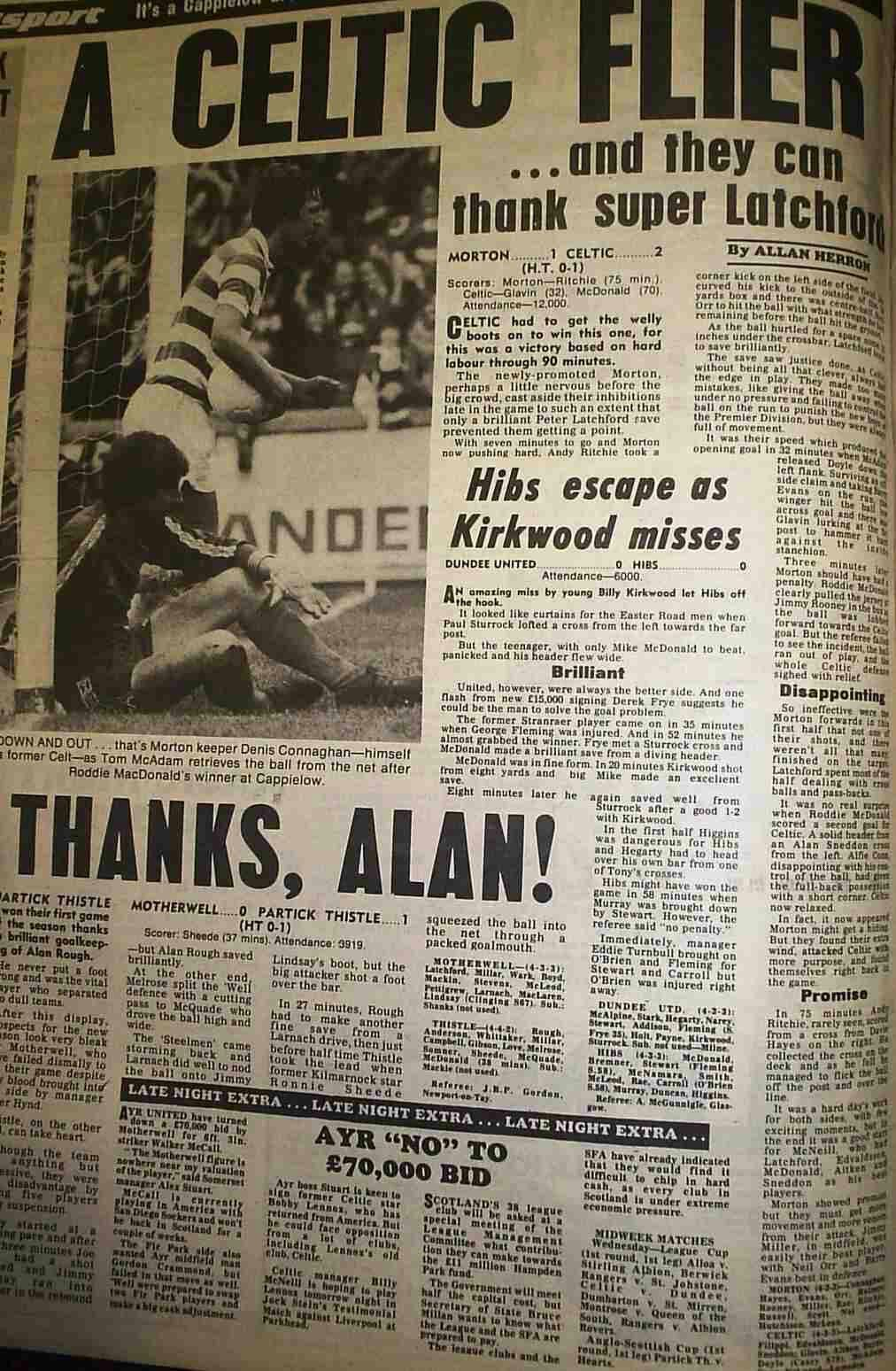 Morton  Celtic  In Aug  At Cappielow A Newspaper Report On