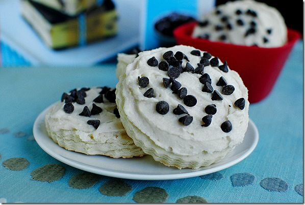 Sugar cookies with chocolate chip cookie dough frosting!!
