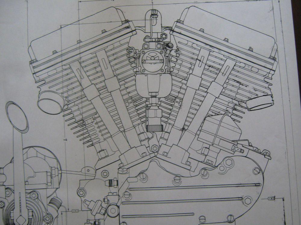 2 HARLEY DAVIDSON PANhead Engine BLUEPRINT Transmision FLH V2 V Twin - new blueprint background image