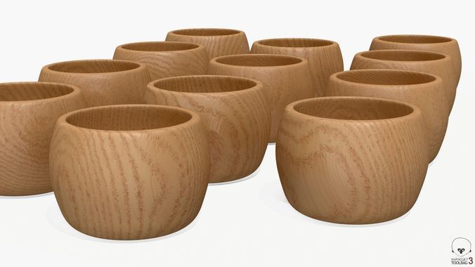 MICHEL 12 small spherical chestnut wood bowls 7x10cm
