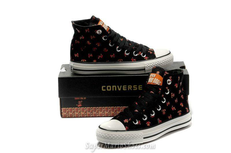 Super Mario Bros Printed Converse Shoes Chuck Taylor Black