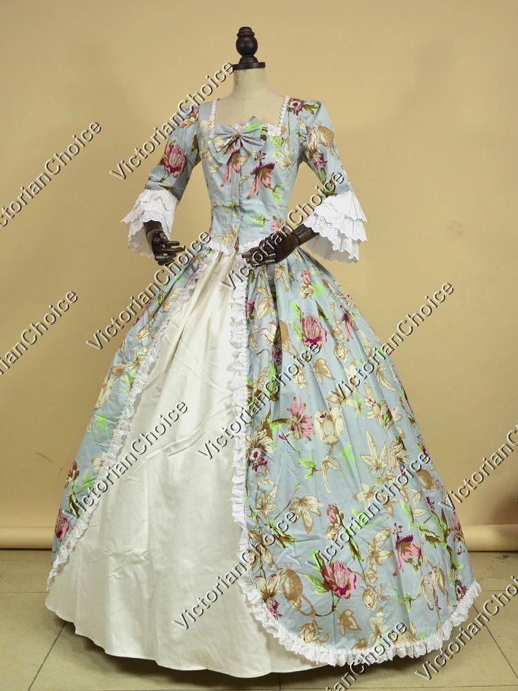 Renaissance Colonial Period Prom Dress Floral Print Gown Reenactment ...