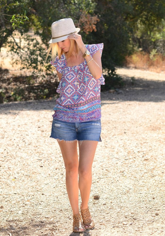 Ruffle Sleeve Top from Anthropologie, Shoemint sandals