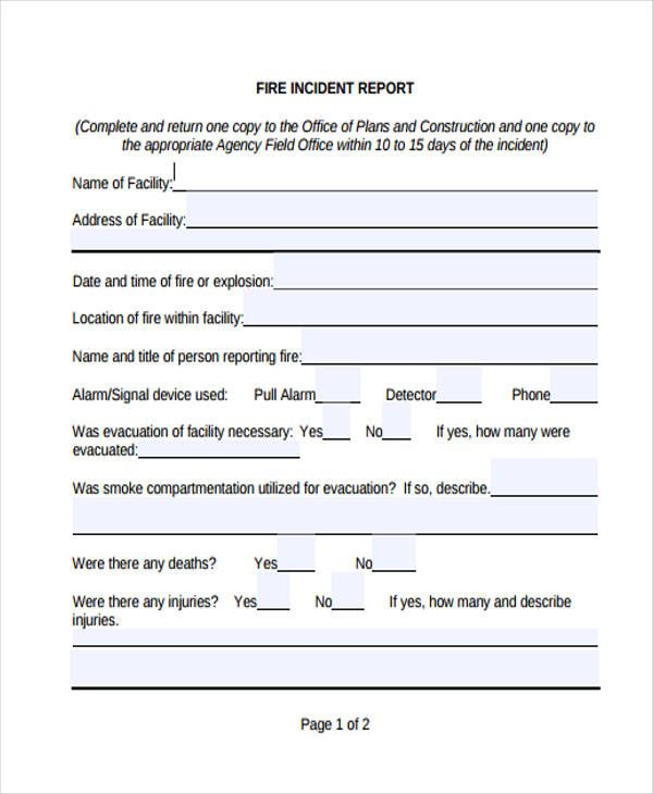 incident report form example fire immix zypop Home Design Idea - incident report word template