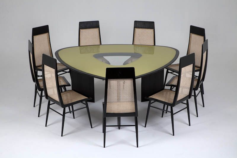Joaquim Tenreiro Triangular Dining Table With Yellow Reverse Painted Glass And 9 Dining Chairs