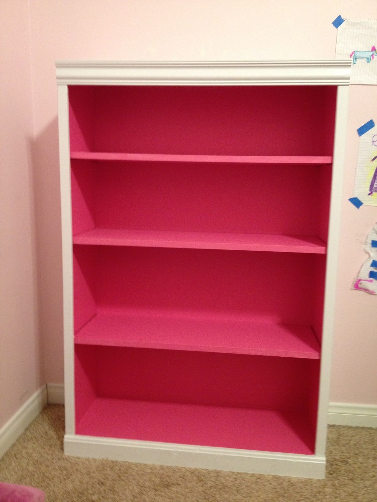 White Bookshelf With Hot Pink Inside For A Splash Of Except I Would Prolly Do It Opposite Or Just Solid