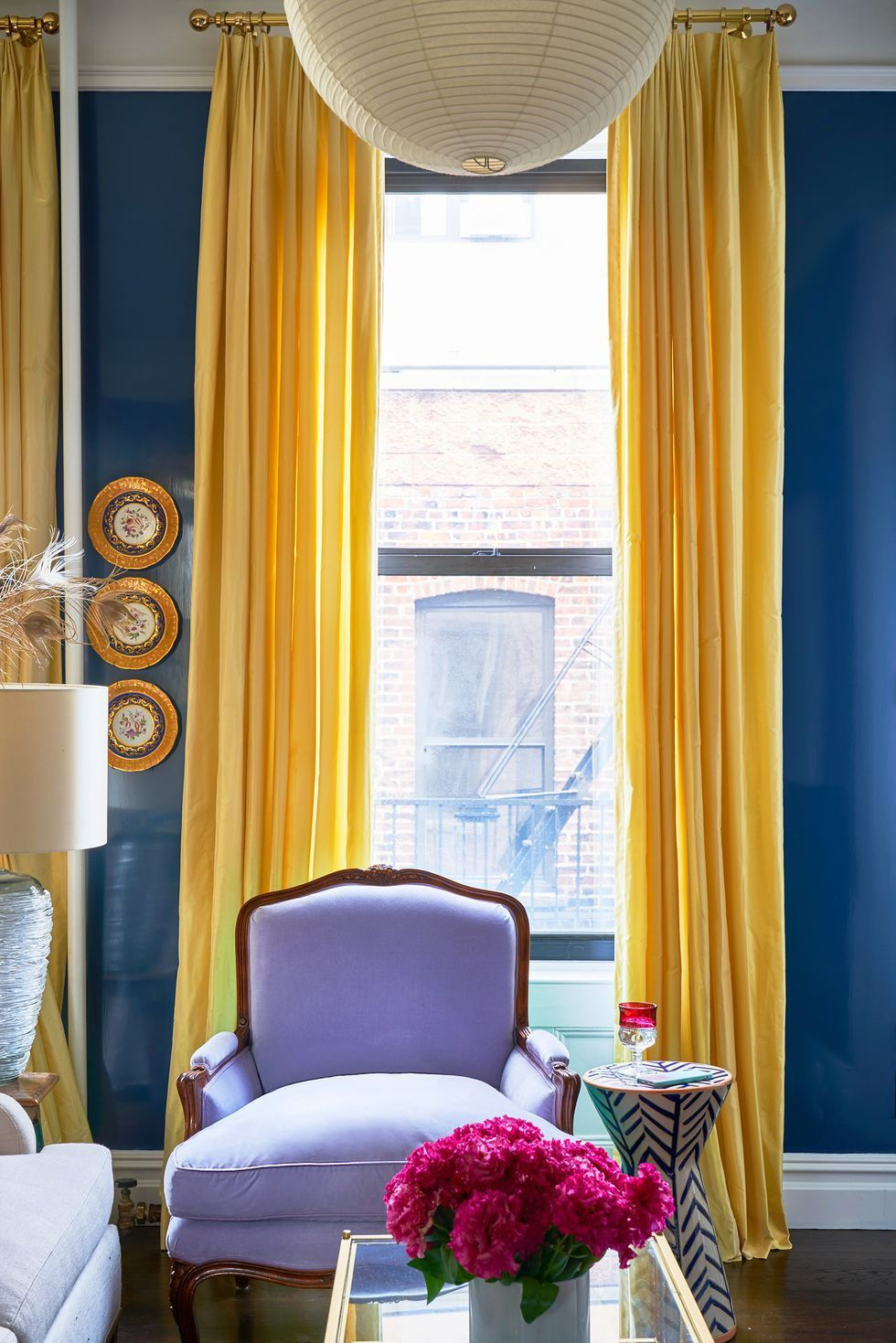 15 Unexpected Colors That Go With Purple Perfectly Window Treatments Living Room Dining Room Windows Curtains Living Room