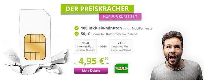 Telekom Netz 1GB Flat mit 100 Freiminuten für 4