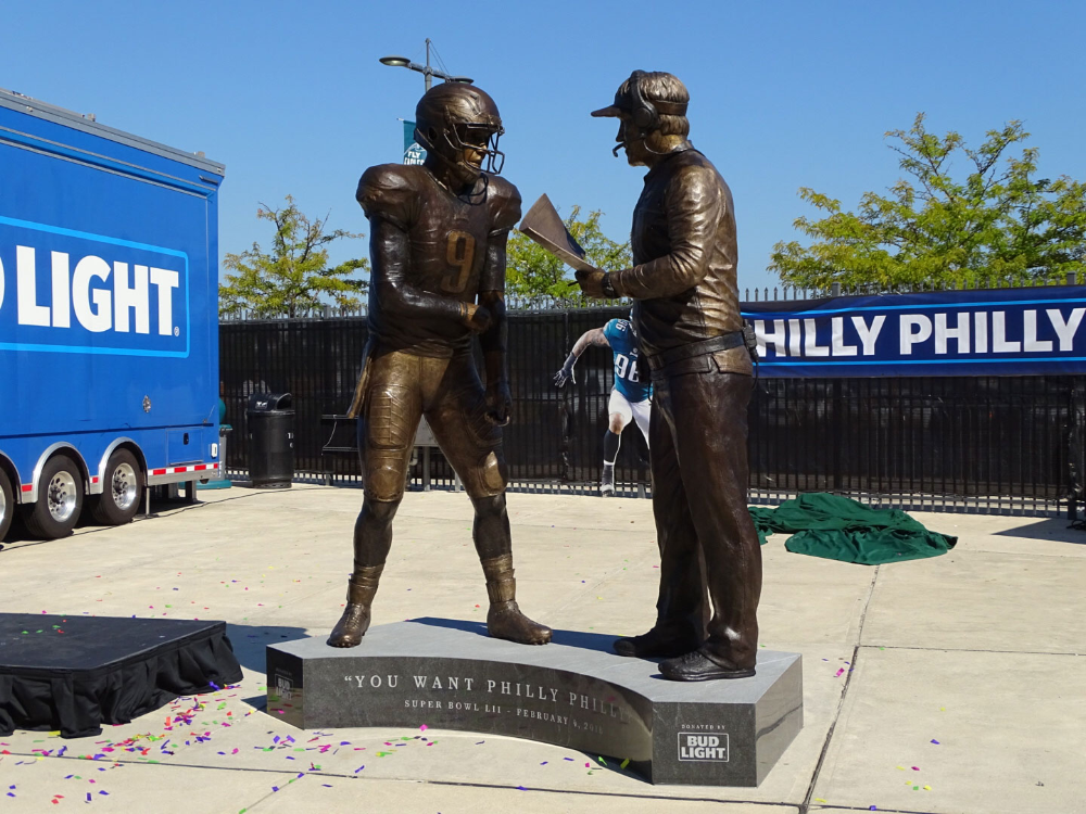 Bud Light Unveils Philly Special Statue Of Doug Pederson And Nick Foles In 2020 Philadelphia Eagles Football Eagles Football Philadelphia Eagles