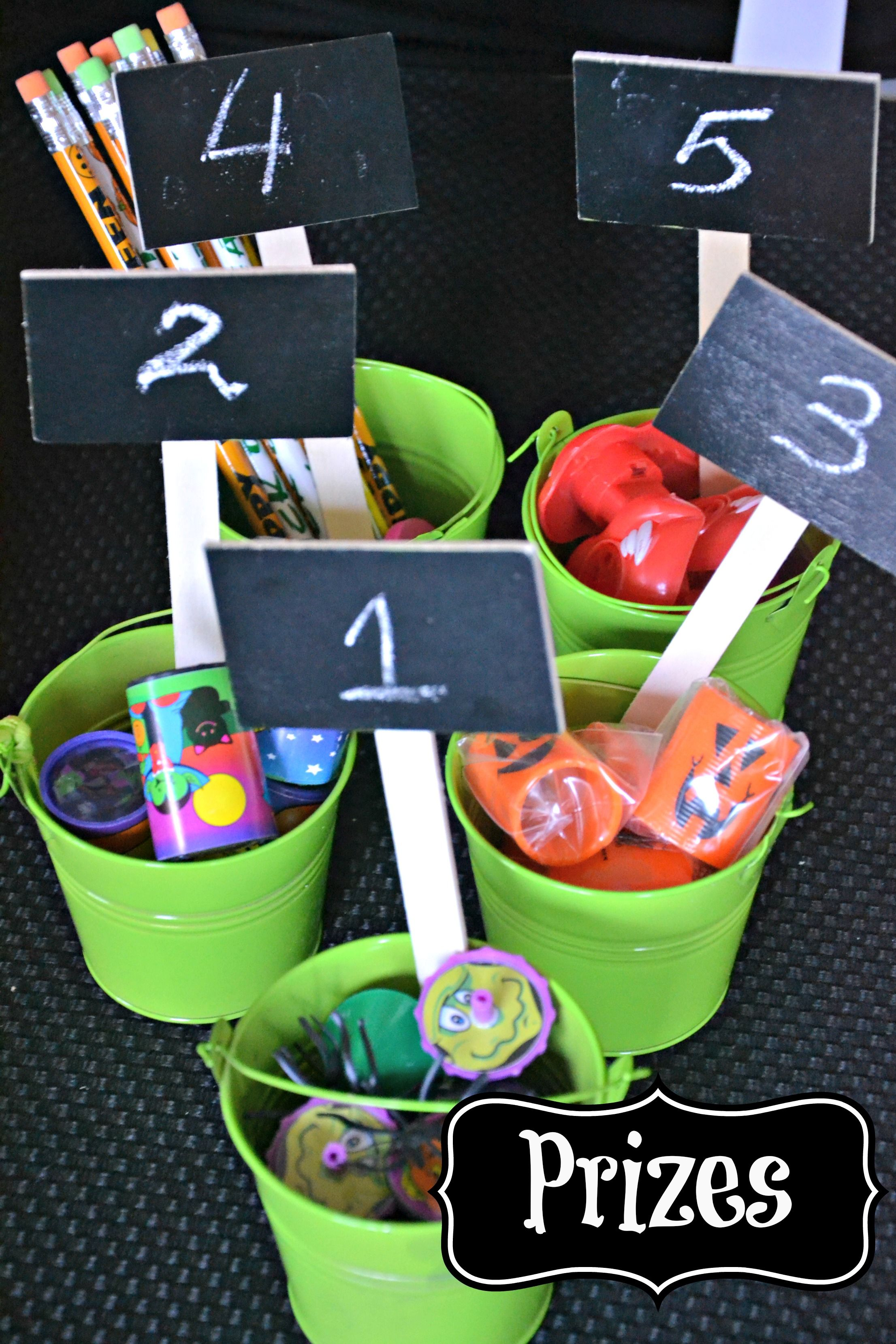 halloween party prize buckets | friendly halloween bash ideas