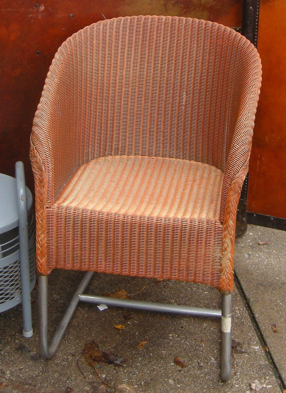 Lovely 1930s Rusty Orange Rattan Chair With Chrome Legs... | Wicker Furniture Www. Ideas
