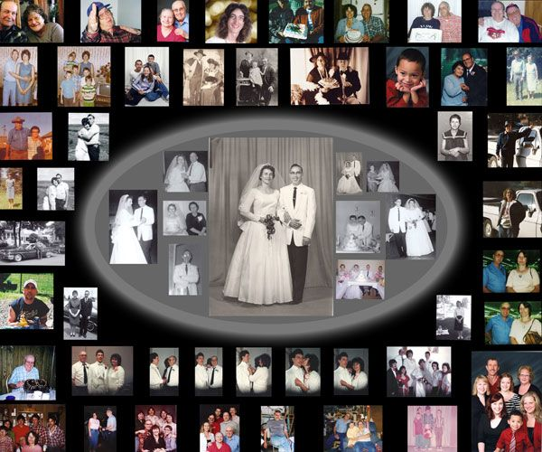Wedding Photo Collage Design Traditional. 40th Anniversary