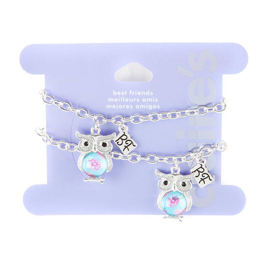 Best Friends Glitter Owl Charm Bracelets