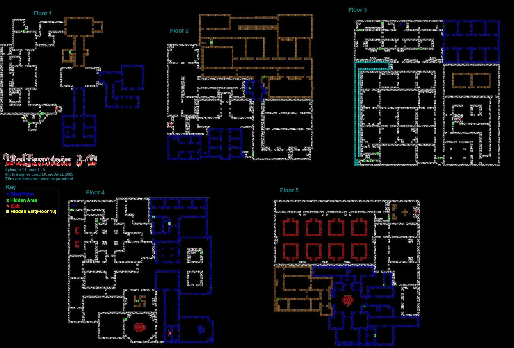 Wolfenstein 3D Maps With Keys Wolfenstein 3D (PC) Episode 1: Floors 1 5 Maps by AWing Pilot