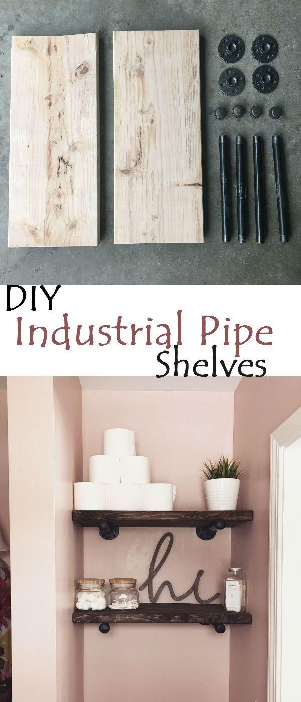 Photo of diy industrial pipe bathroom shelves