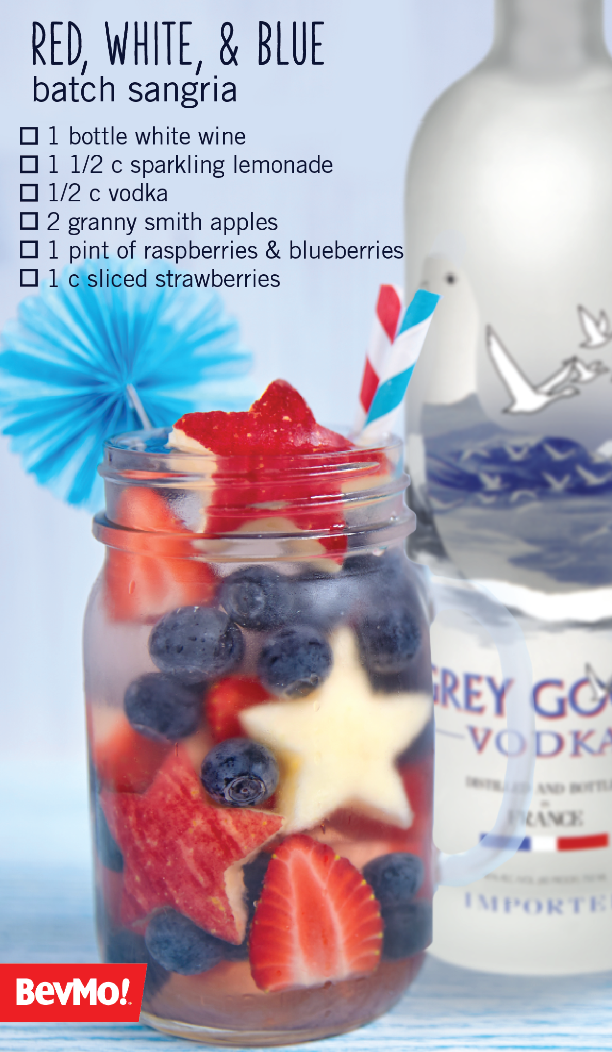 To assemble this Red white & Blue Batch Sangria start with your favorite white wine from BevMo! Then add in vodka, sparkling lemonade, star-shaped apples, strawberries, blueberries, and raspberries! A fruity patriotic drink that serves a crowd—this cocktail is a Memorial Day dream come true. #sparklinglemonade