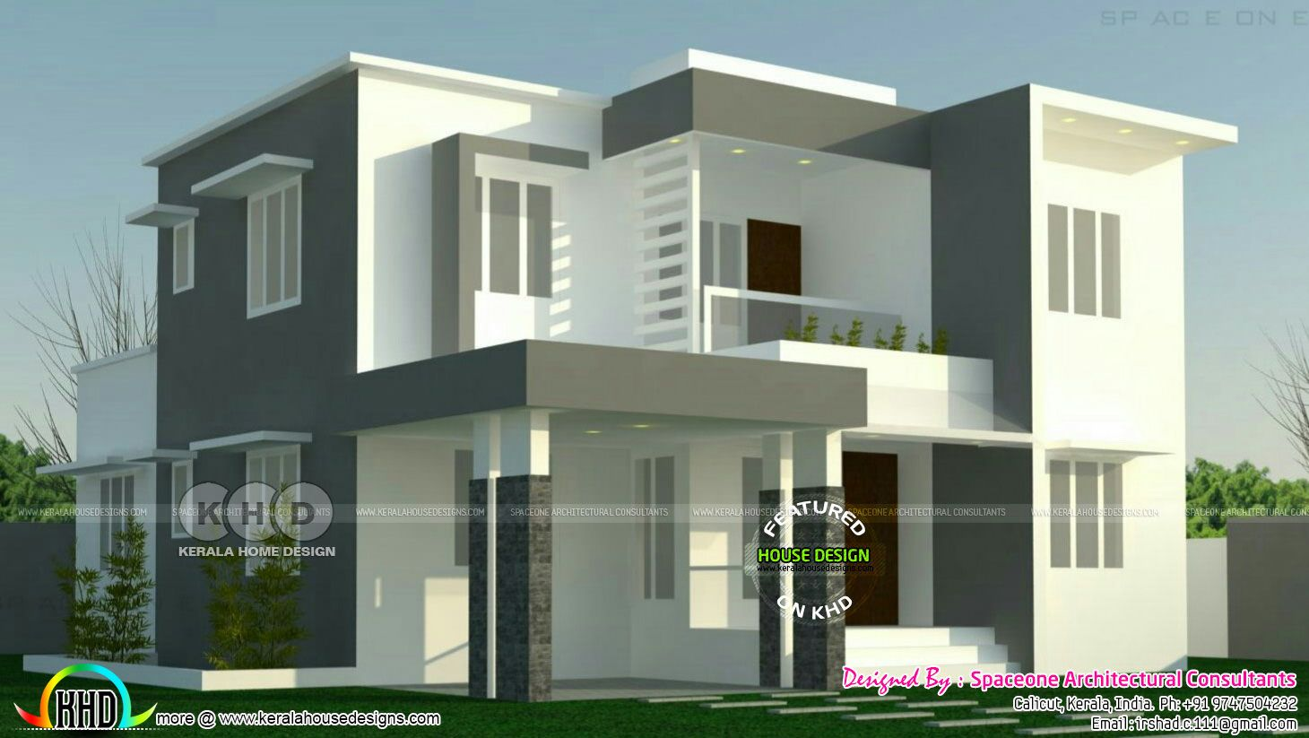 4 Bedroom Flat Roof Modern Home 2000 Sq Ft Flat Roof House Designs Duplex House Design Bungalow House Design