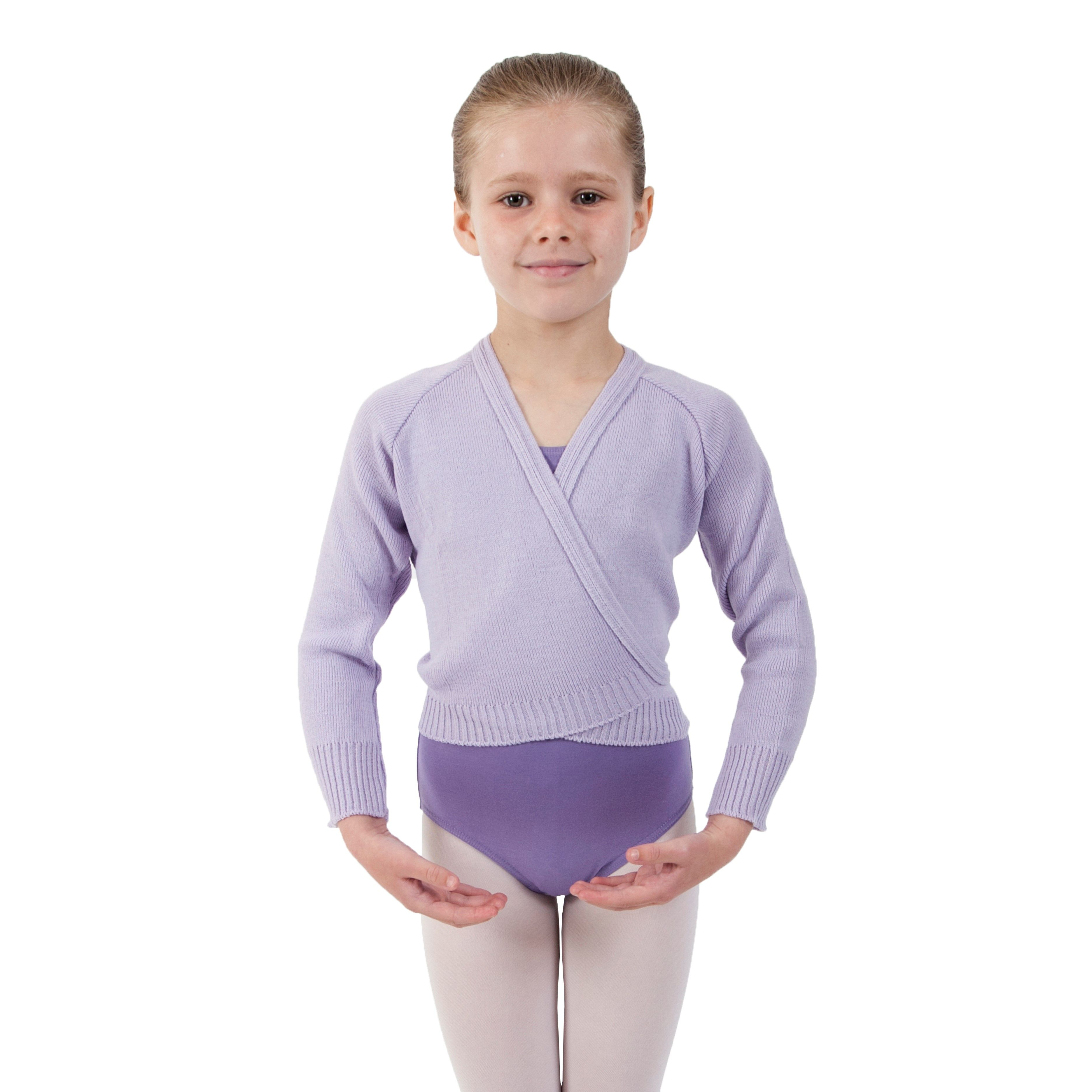 e02fbf480f8698 Girls Lilac Ballet Cardigan Crossover Knitted Wrap