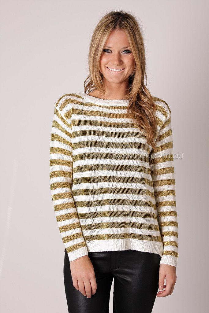 mellow knit jumper - gold/cream