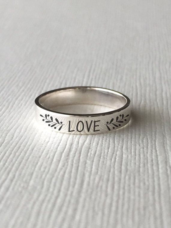 Floral Message Sterling Silver Ring Custom Personalized Ring