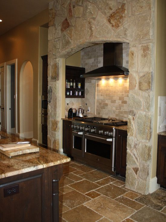Striking Medieval House Design with Modern Interior Ideas: Charming Volente House Kitchen Details Travertine Tile Floor