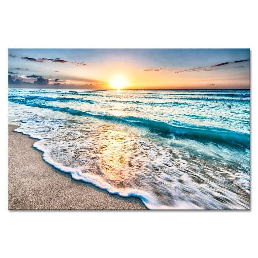 Wieco Art Extra Large Sea Waves Canvas Prints Wall Art Ocean Beach