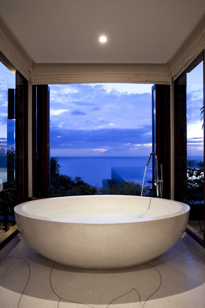 Large Bowl White Tub With All Around Views | Bathroom Ideas ...