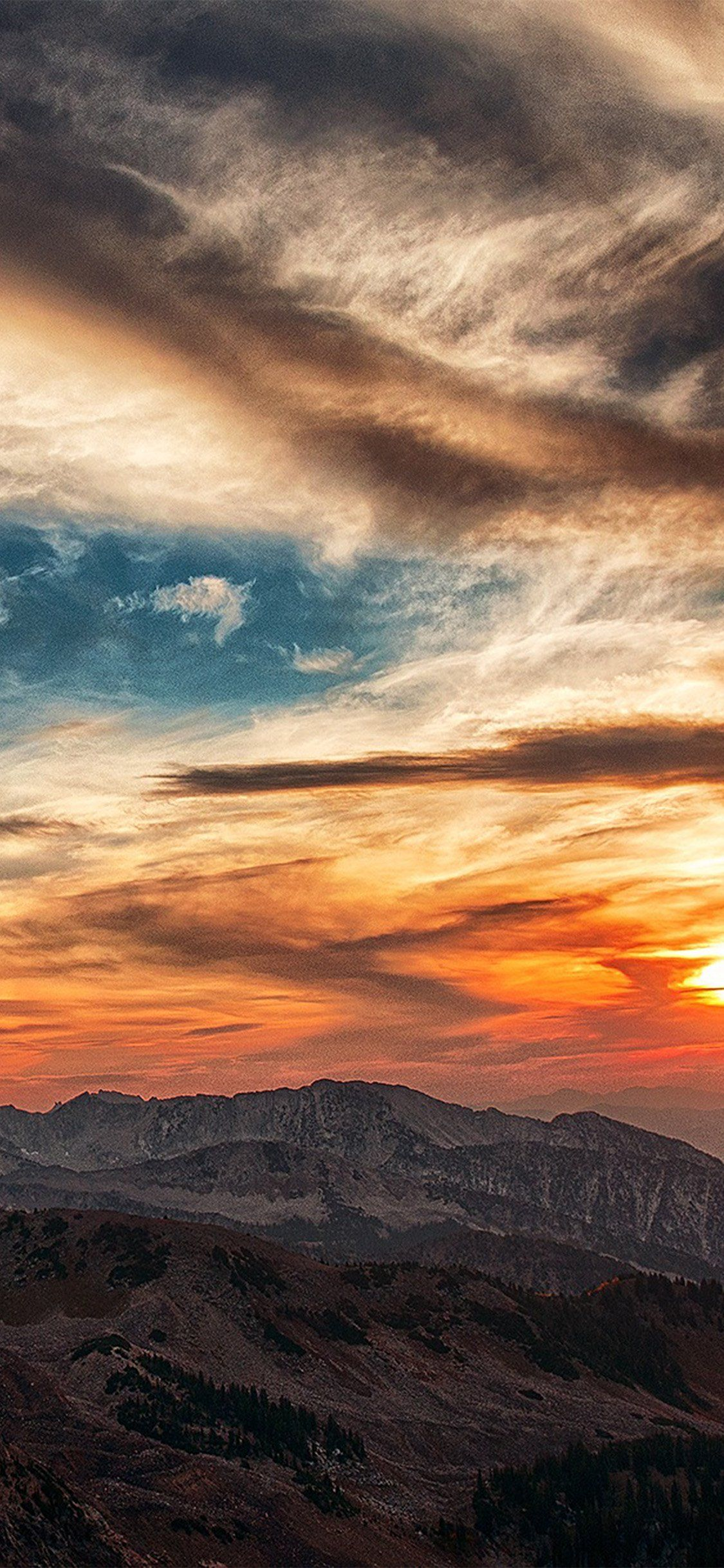 Sunset Mountain Sky Cloud Iphone X Cool Pictures For