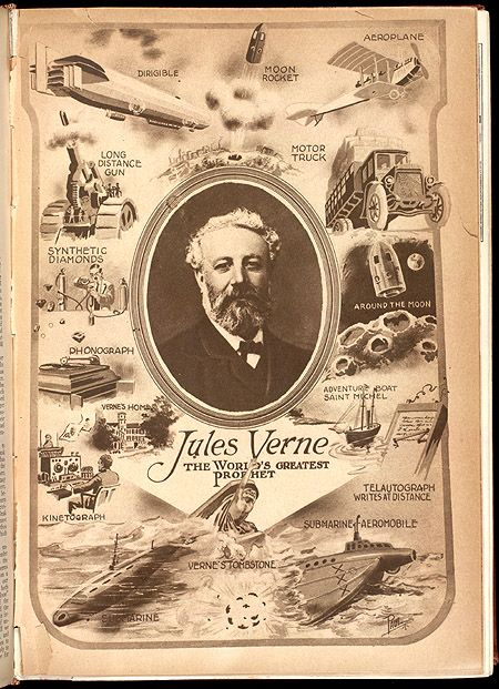 """Jules Verne The World's Greatest Prophet""  Brief tribute to Jules Verne's 189th birthday, the French author of many science fiction classics such as 20,000 Leagues under the Sea and Around the World in 80 Days. Can be found at the Smithsonian Libraries."