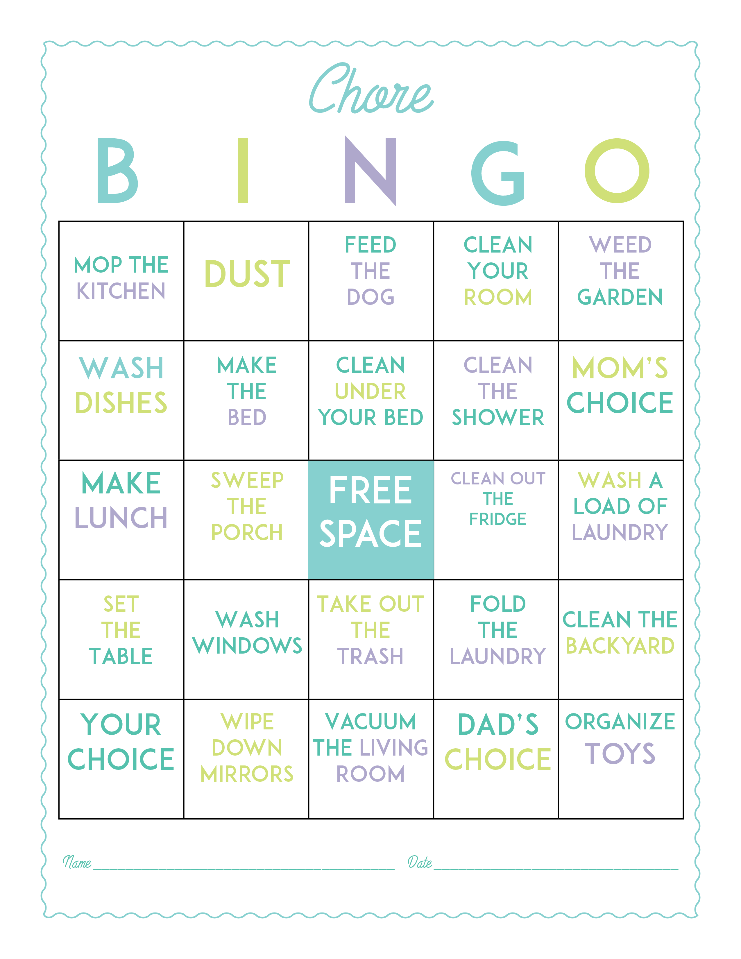 Make Chores More Fun With This Free Printable Chore Bingo Game Board