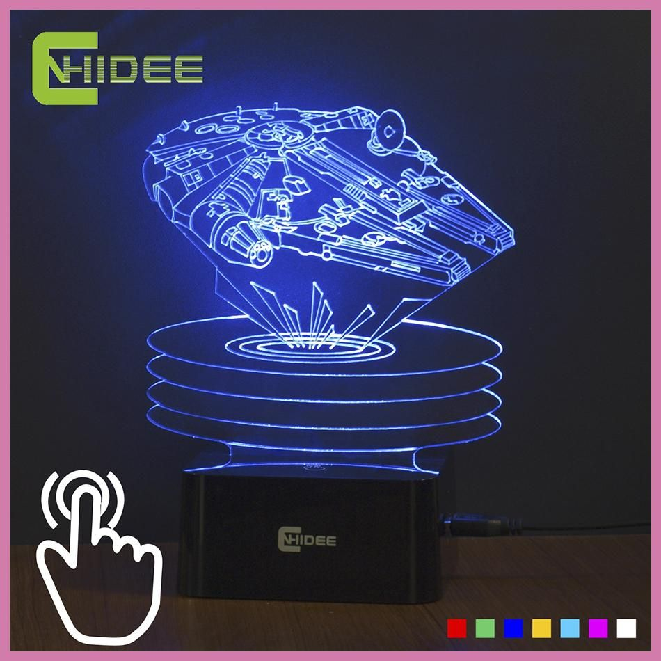 Touch Sensor 7 Colors Changing Usb Led Night Light Millenium Falcon1 3d Lamp As Home Decor Bedroom Besides Lampara Luz Luces De La Noche Noche Trajes De Noche