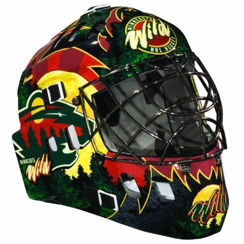 """NHL Minnesota Wild SX Comp GFM 100 Goalie Face Mask by Franklin. $46.89. Anatomically designed ACD vented shell, full coverage adjustable back plate, extended chin and jaw contoured design, adjustable elasticized quick-snap straps. Official NHL Team colors and logos. Molded high-impact ABS plastic, AEGIS MICROBE SHIELD antimicrobial technology and Chrome finish welded steel cage. Recommended sizing for ages 5 to 9. Only for Street Hockey use with official size (2 5/8"""") street ho..."""
