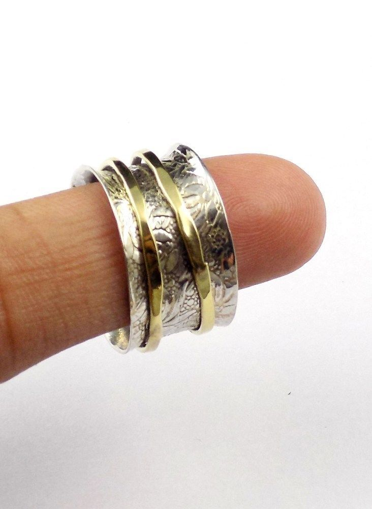 Nice Ring 8 No.925 Silver Filigree Vintage Hammered Spinner Ring ...