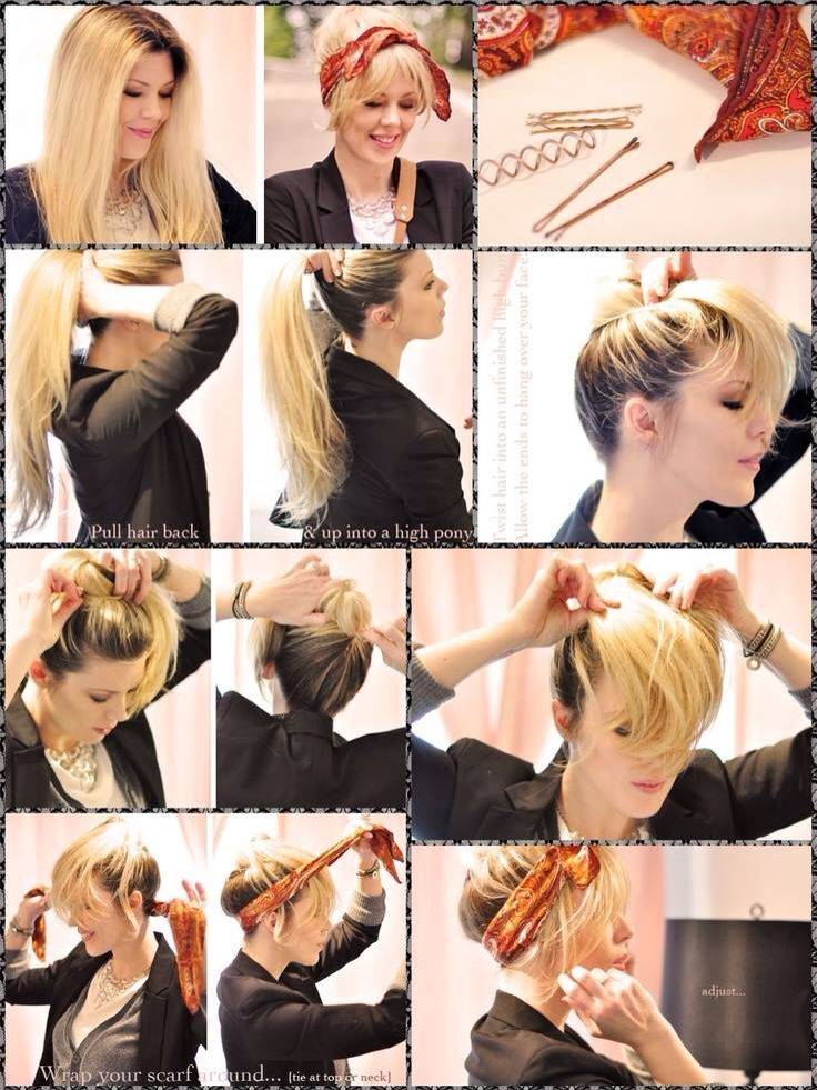 Fake Bangs Pinup Hair Bandana Long Hair Updo Rockabilly Hair Tutorials