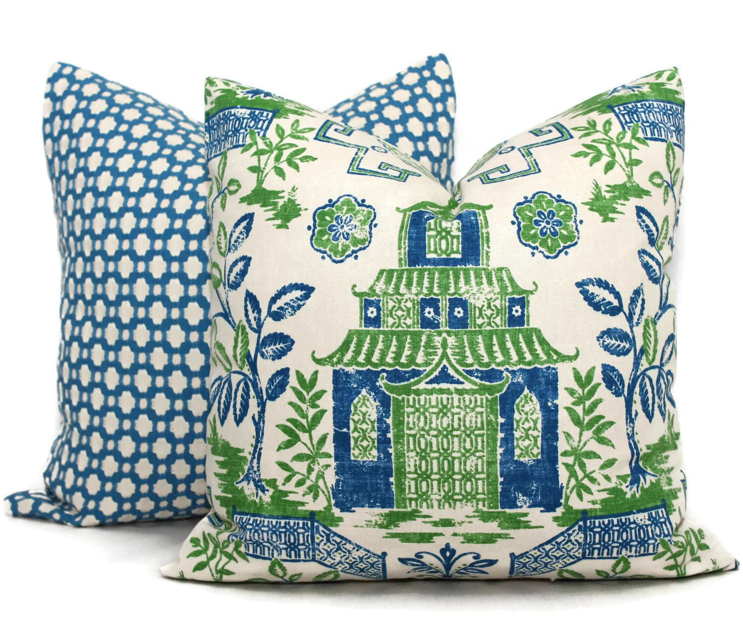 Blue and green teahouse pagoda decorative pillow covers toss pillow