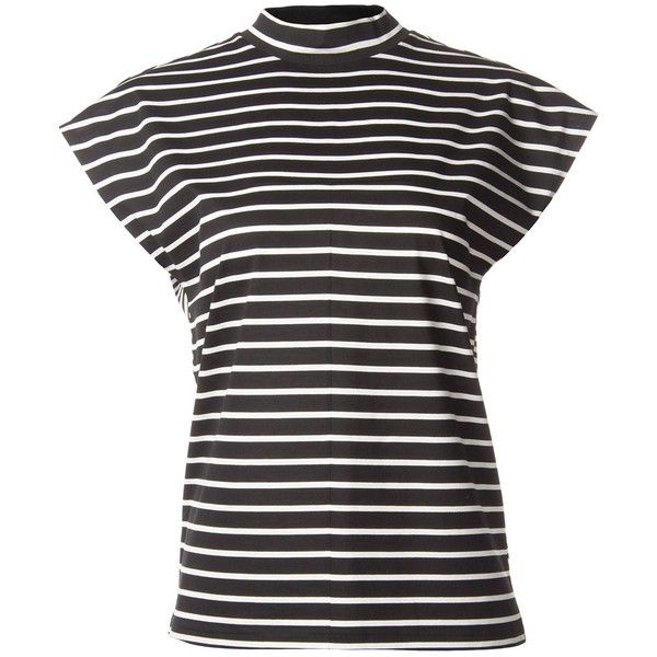 Astraet Stripe Multipattern High Neck T-Shirt (145 CAD) ❤ liked on Polyvore featuring tops, t-shirts, black, cotton t shirt, high neck top, stripe t shirt, striped top and stripe tee
