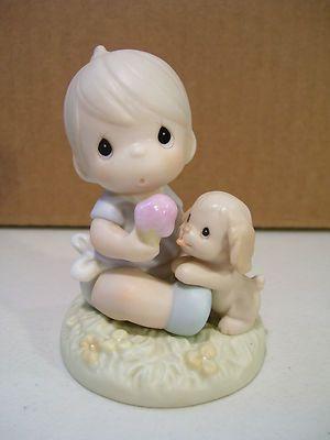 Enesco Precious Moments Love Is Sharing Figurine 1996 Baby Boy Puppy Dog | eBay