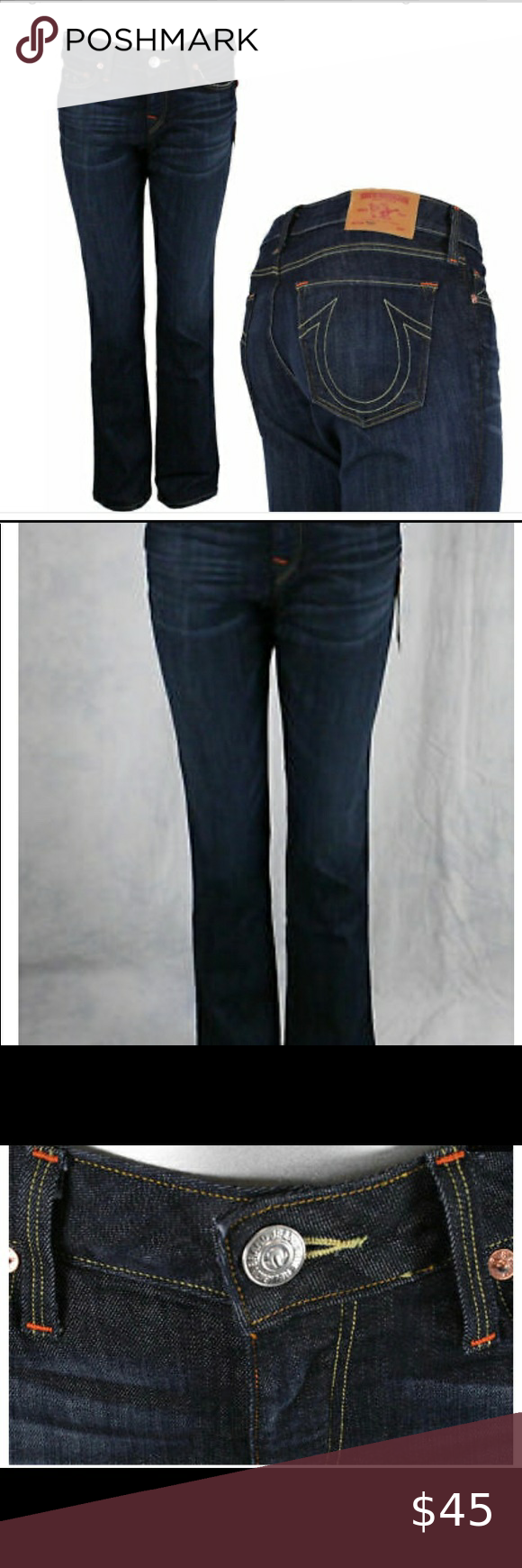 True Religion Jeans women's TONY bootcut Luckdraw Women's True Religion brand jeans.  The style is called Tony, the color is TIM-Luckdraw style #WLHS69P98 They are a micro bootcut with a high rise in a dark wash, made of 88% cotton, 10% polyester, 2% spandex. They have golden stitching and standard hardware with a leather label on the waistband. True Religion Jeans Boot Cut