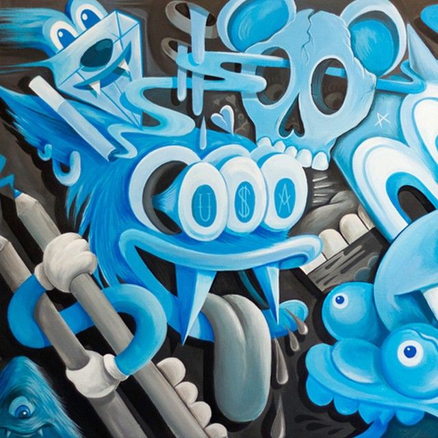 #TBT Acrylic on canvas for the born and bred group show @abvatl #GregMike #larryloudmouf