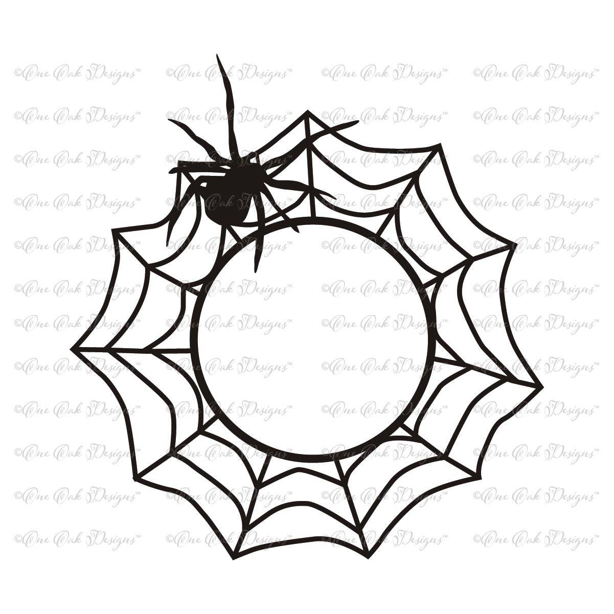 Spider Web Circle Monogram Frame SVG File svg dxf png pdf