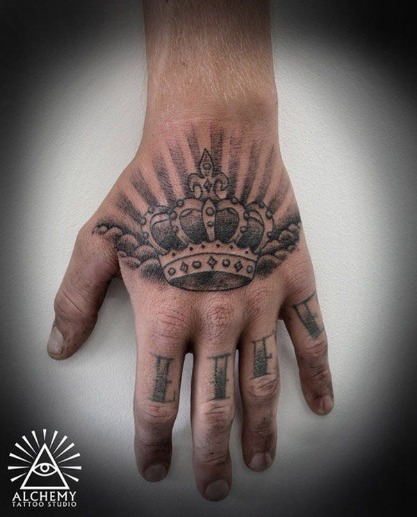 48 Crown Tattoo Ideas We Love Pretty Designs Hand Tattoos For Guys Crown Hand Tattoo Back Of Hand Tattoos